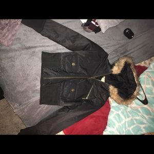 papaya jackets coats black furred jacket poshmark